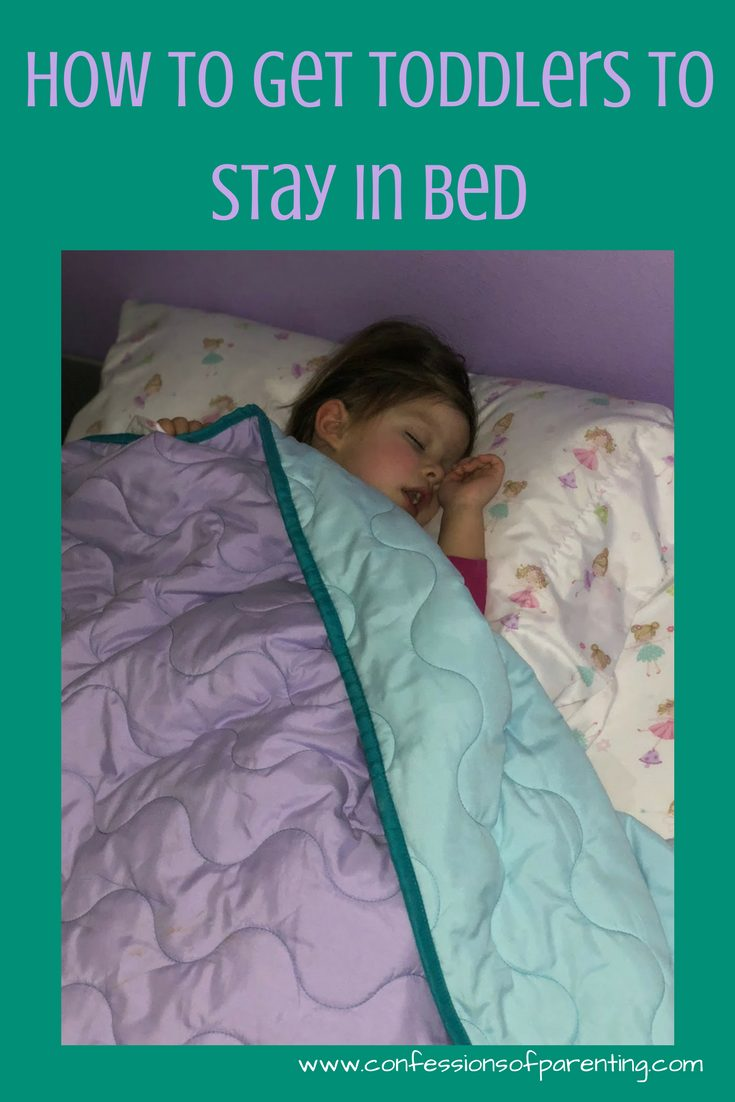 Getting a toddler to stay in their own bed can be difficult! Does your toddler keep getting out of bed in the middle of the night?We tried many different techniques before we found one that worked. These tips can help you!