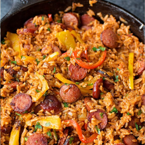 Sausage, Pepper, and Rice Skillet