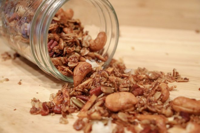 Are you looking for a super easy yogurt and granola parfait? Well, look no further because this one combines healthy homemade granola and fruit for a quick meal on your way out the door!