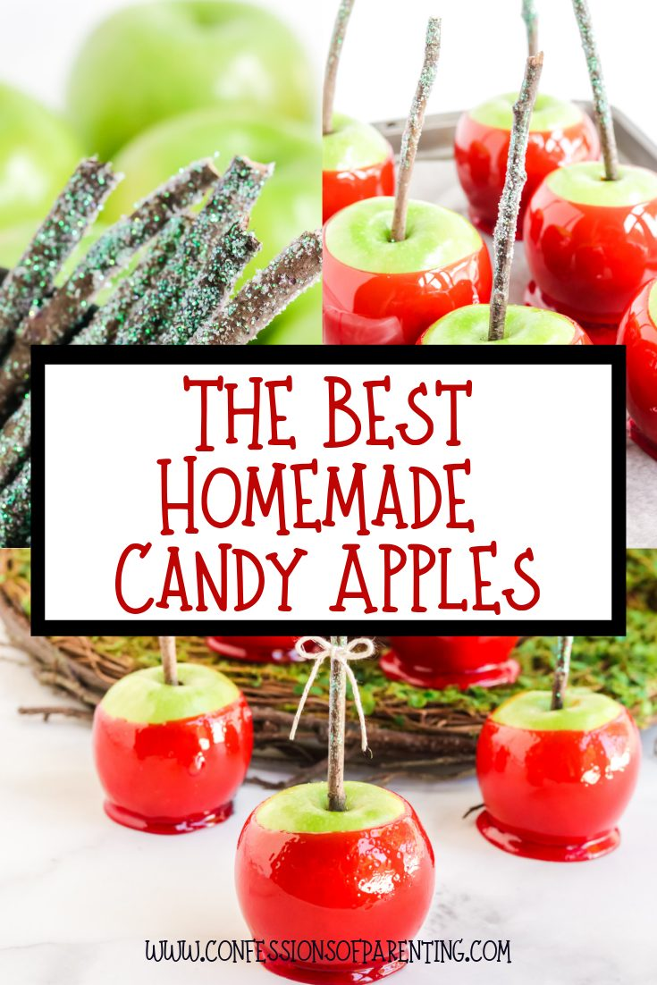 Add a pop of color this fall with this super simple Homemade candy apple recipes, otherwise known as a toffee apple outside the United States. #candyapples #candyapplerecipe #toffeeapple #halloween #applerecipes #fall #fallrecipes