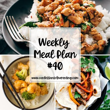 In a dinner rut? Try our easy as pie weekly meal plan for families to spice up your dinner routine and take some stress out of dinnertime at the same time!
