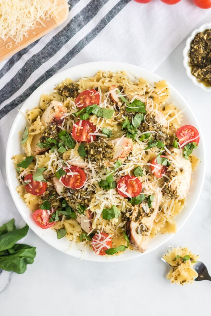 chicken pesto pasta in a bowl ready to serve
