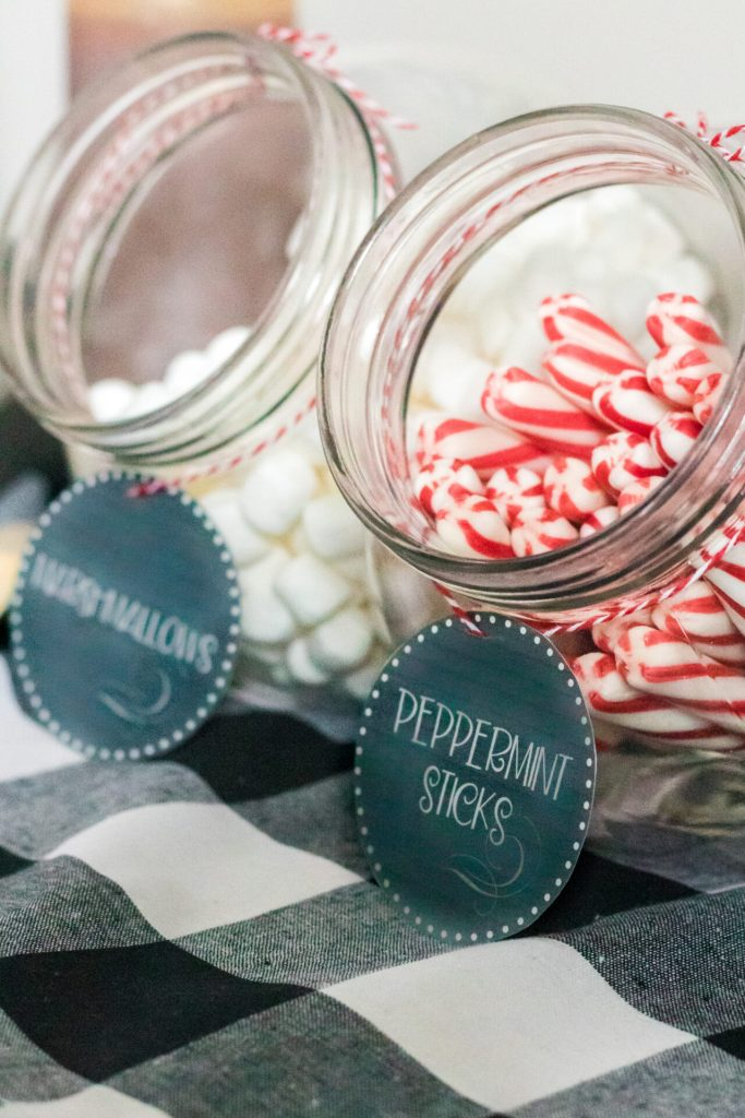 miniature marshmallows in jar and peppermint sticks in jar