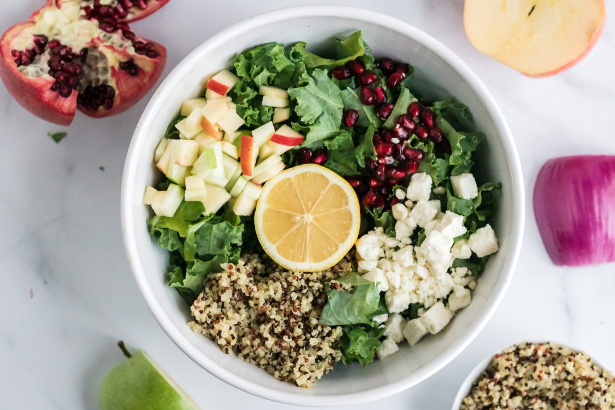 This Kale and quinoa salad with lemon vinaigrette will leave your mouth watering. Trade out your usual boring salad for this delicious one full of flavor.
