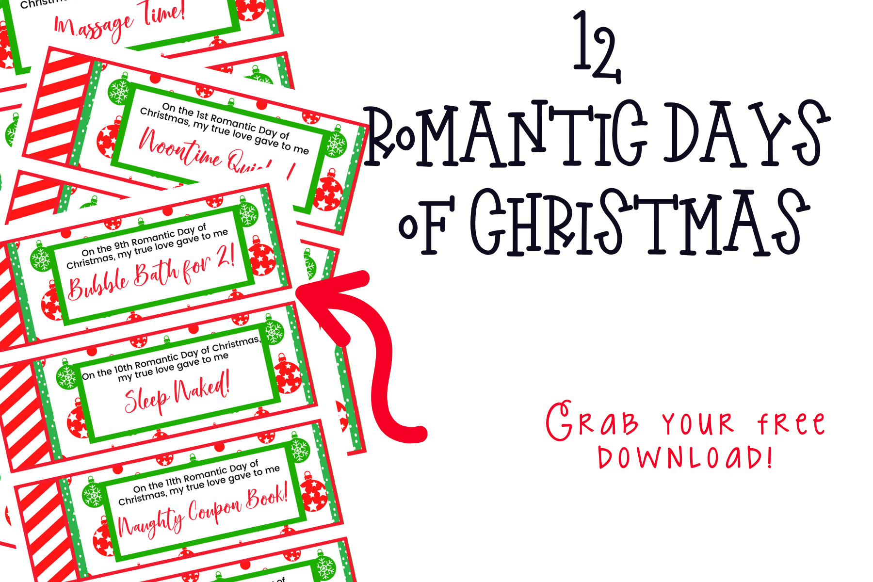 Christmas is one of the happiest times of the year. It doesn't have to just be stressful for you and fun for the kids. Have fun with these 12 Romantic Days of Christmas and give your love life a whirl this holiday season!