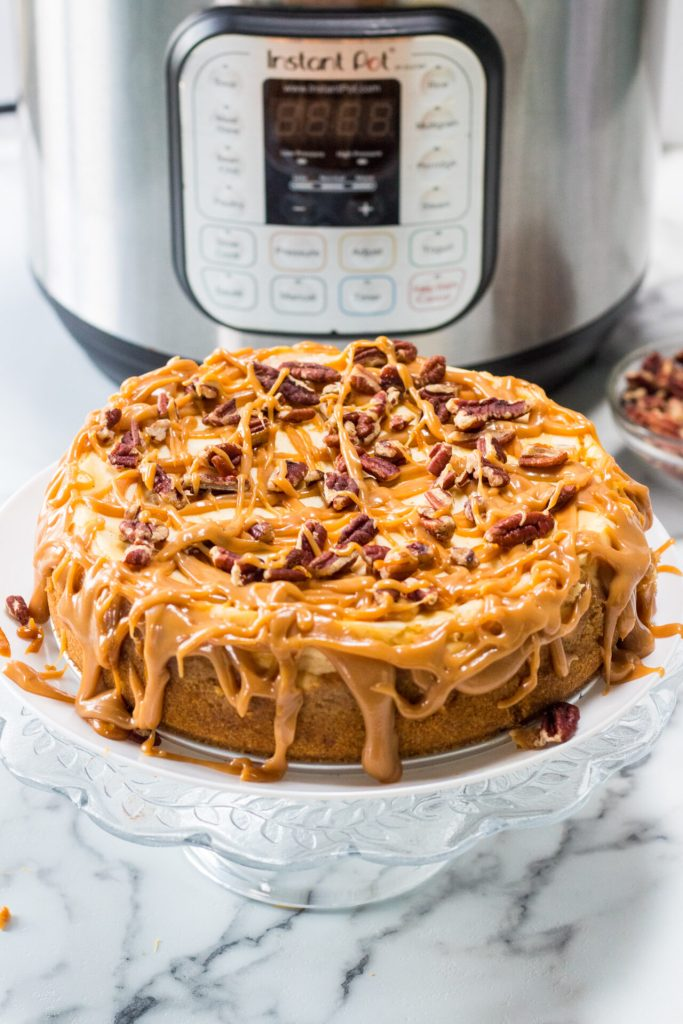 Take your dessert to the next level with this luxurious Salted Caramel Pecan Cheesecake recipe. This sweet creamy cheesecake is so easy and fail-proof with the help of your Instant Pot.