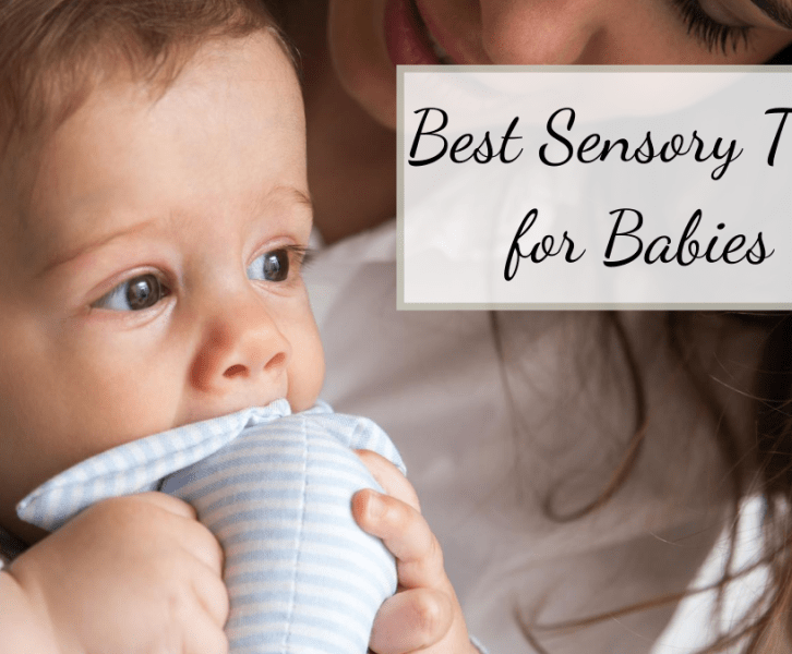 baby holding a great sensory toy for infants. The best sensory toy for babies is a stuffed animal.