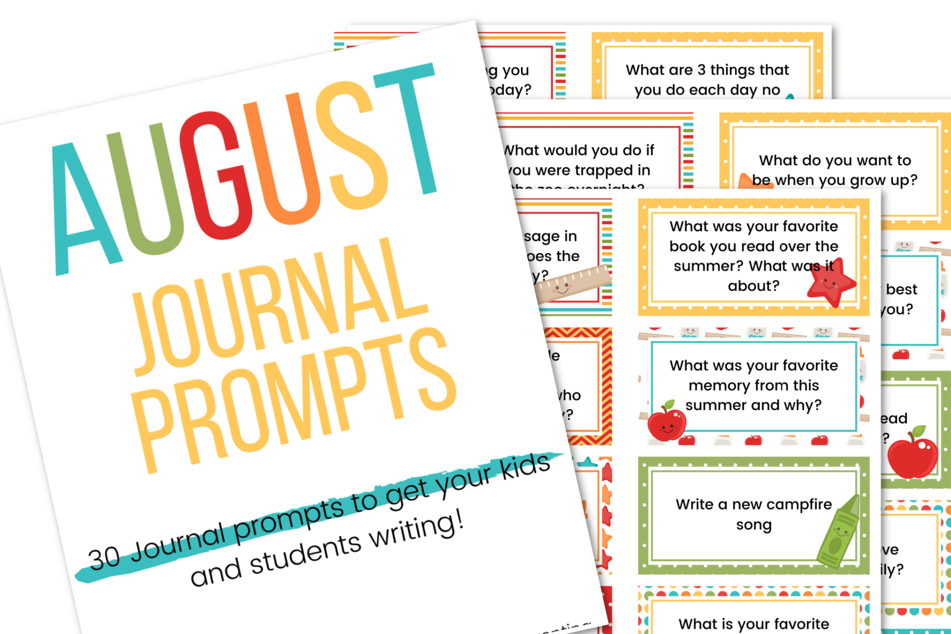 Picture of the August journal prompts for kids.