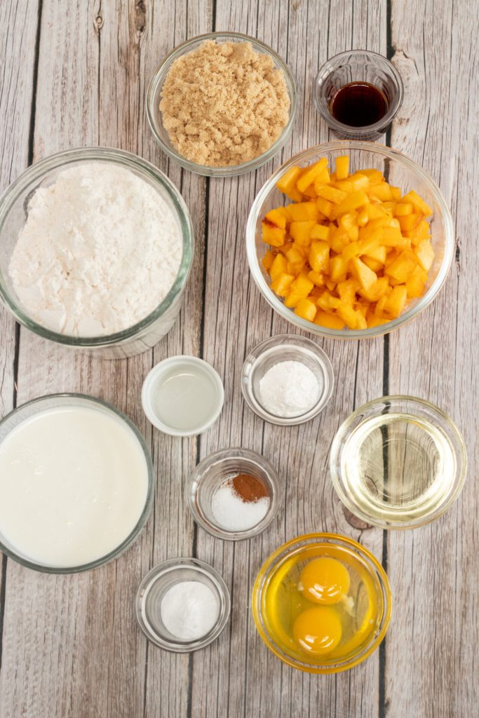 Ingredients for peach bread
