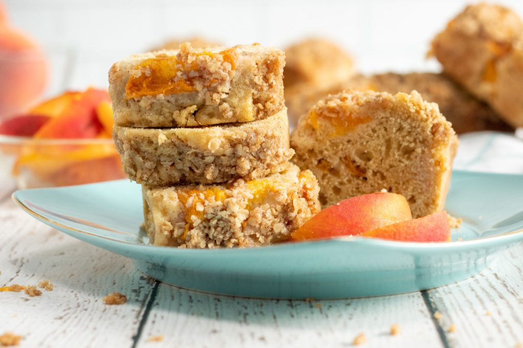 slices of peach bread on plate
