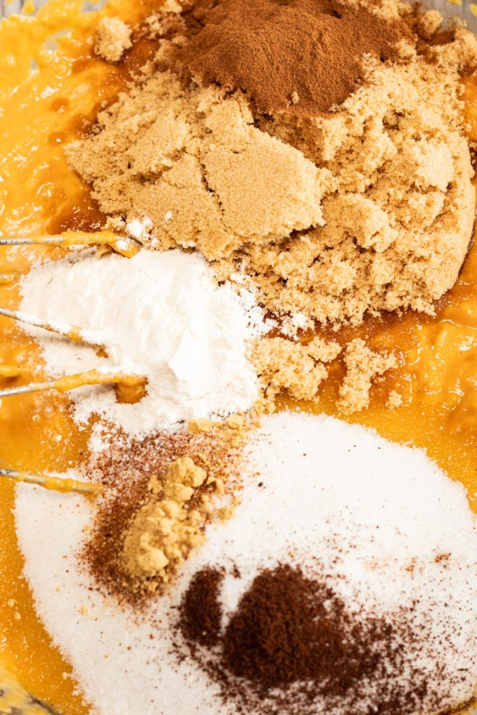 process shot of pumpkin cobbler