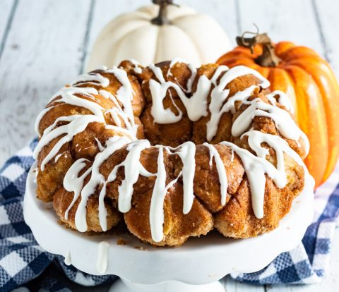 monkey bread ring on a white cake stand