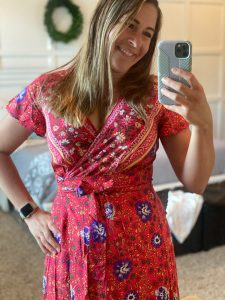 red modest dress for women