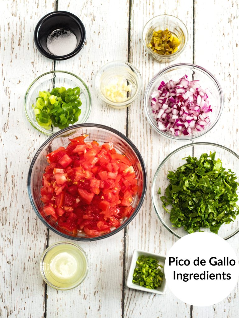 overhead shot of pico de gallo ingredients