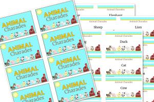 Animal charades printable cards