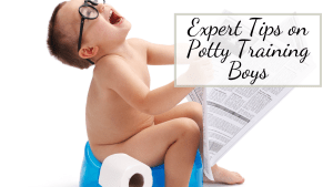 little boy sitting on the potty trying to learn to potty train using potty training boys tips