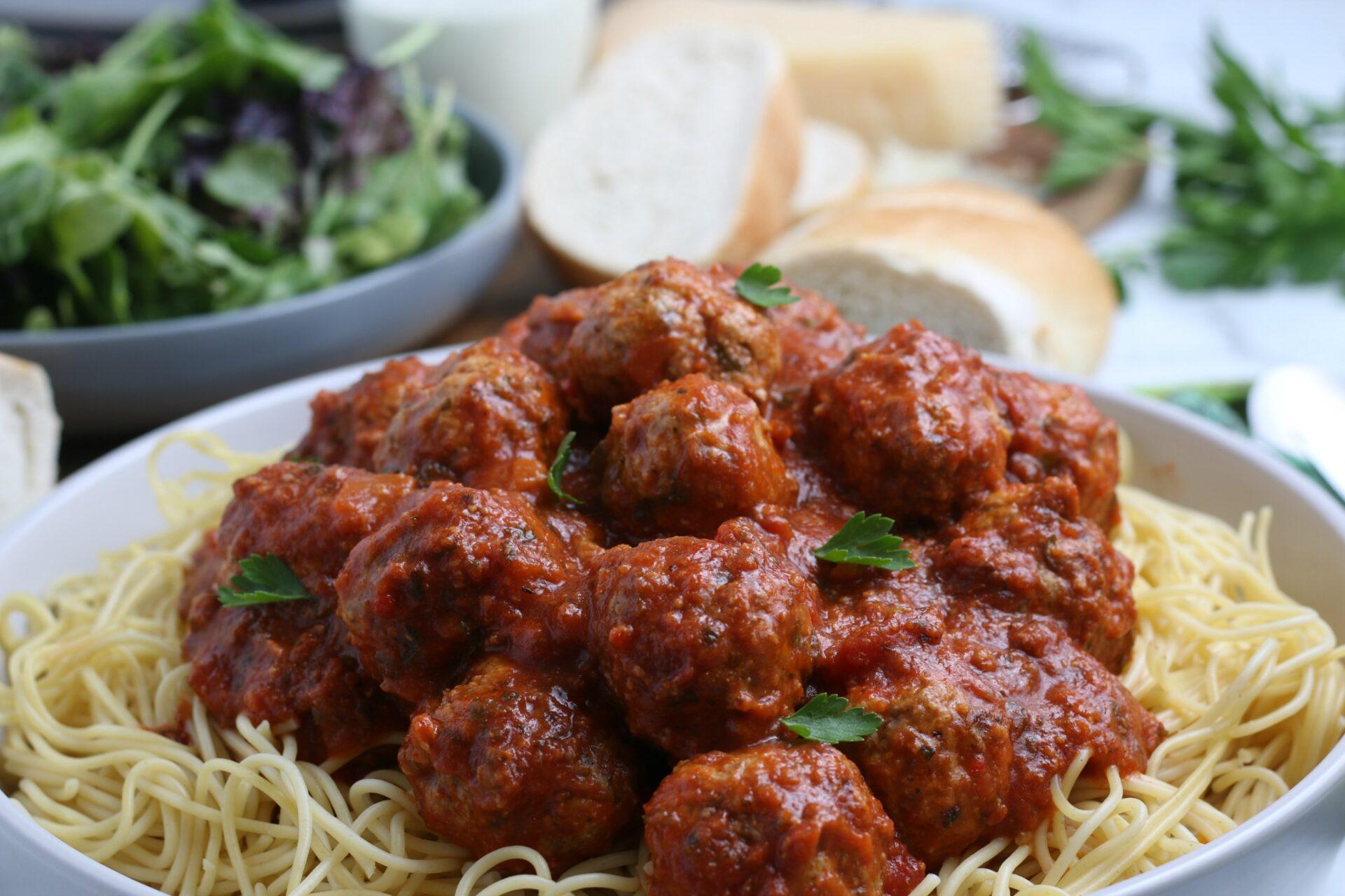 Meatballs on pasta