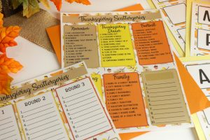 Thanksgiving Scattergories printable