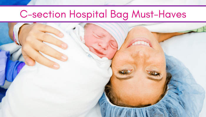 Mom and baby after c-section talking about c section hospital bag must haves