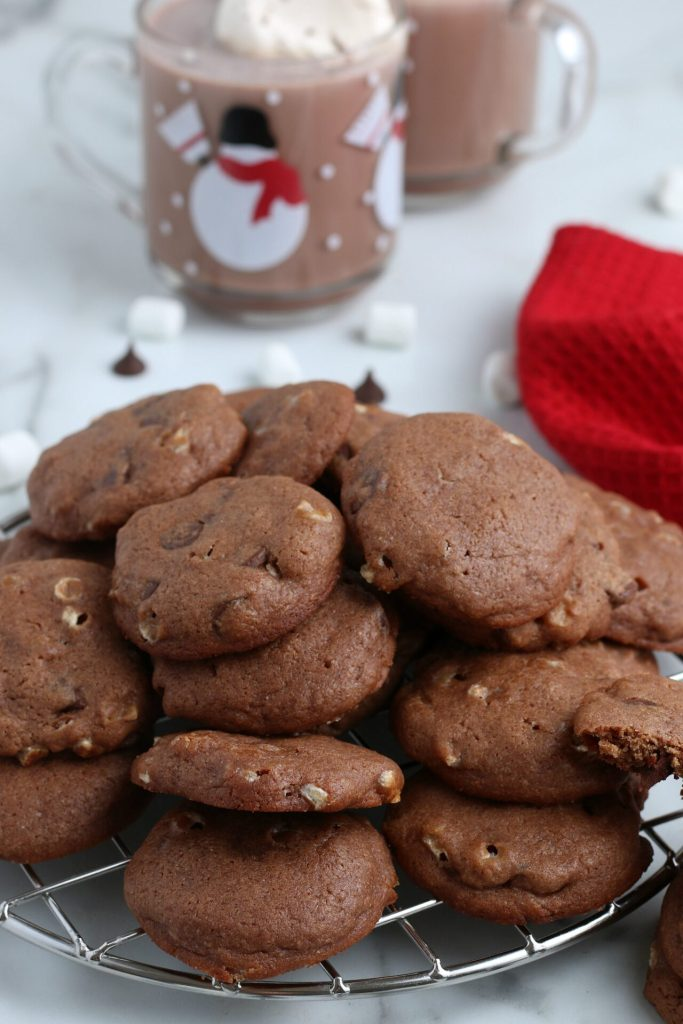 hot chocolate cookies with hot chocolate in the background