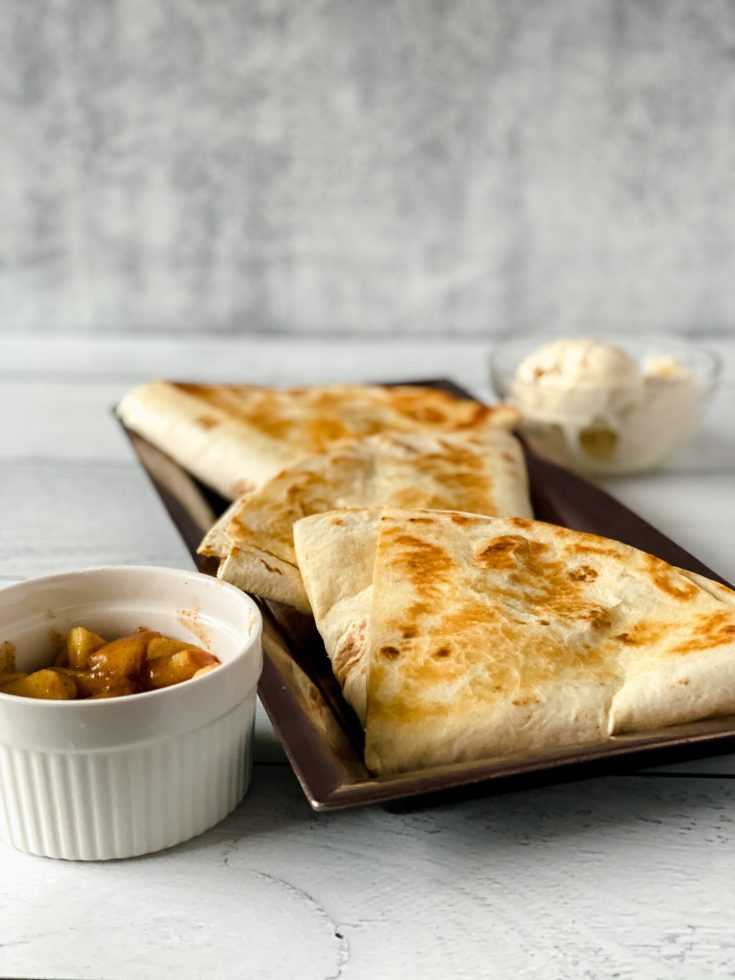 picture of apple pie tortilla wrap recipe on a plate