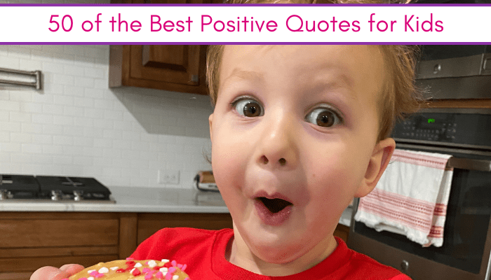 Positive quotes for kids feature image with kids happily eating a donut