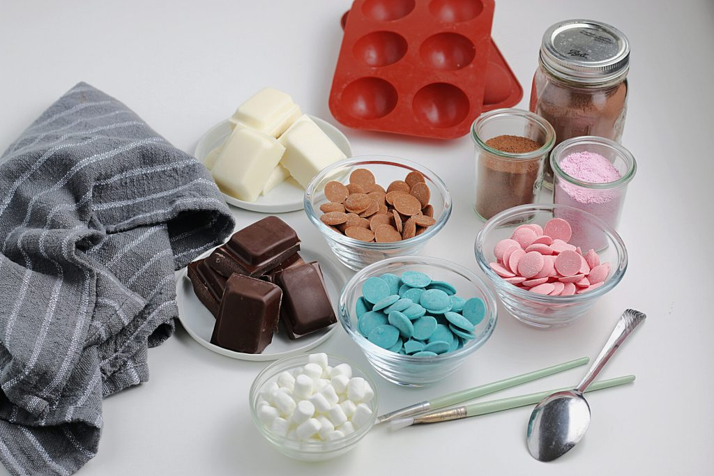 ingredients for Valentine's Day Hot Chocolate Bombs