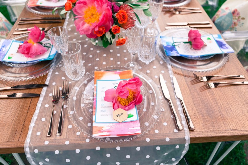 The colour scheme was coral, hot pink and teal
