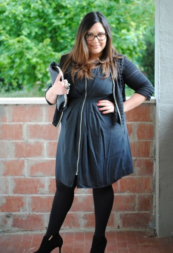 casual dress with draperies for a fat woman with a belly