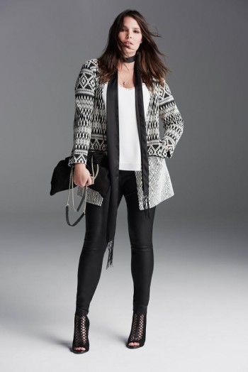 long cardigan with leggings for a full figure
