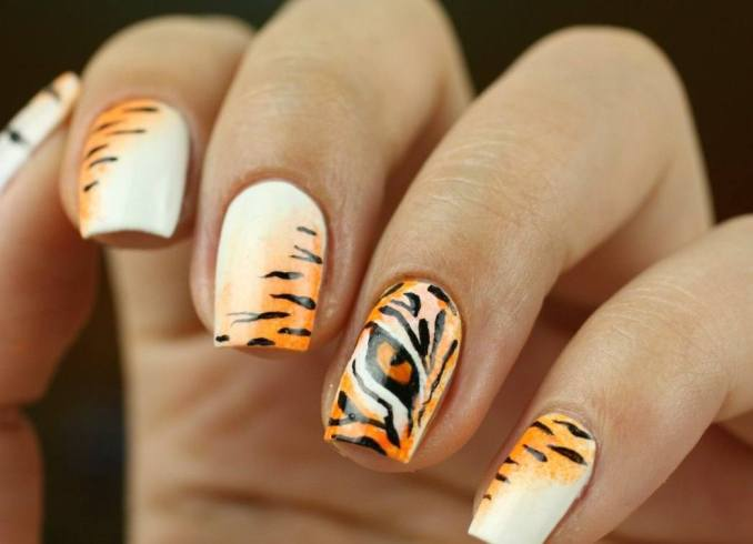 Manicure with a print: options for design 14