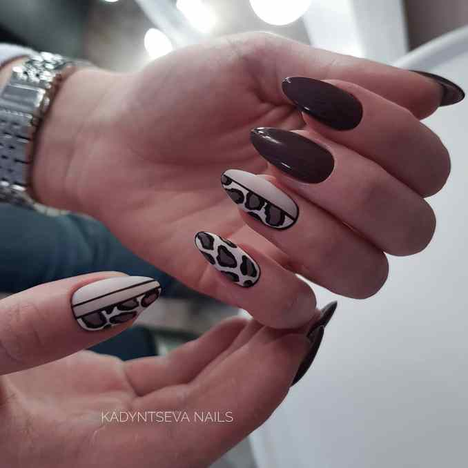 Manicure with a print: options for design 4