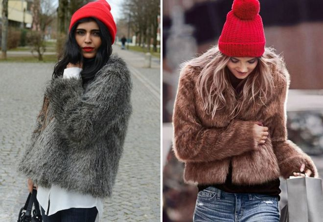 Red hat with a fur coat