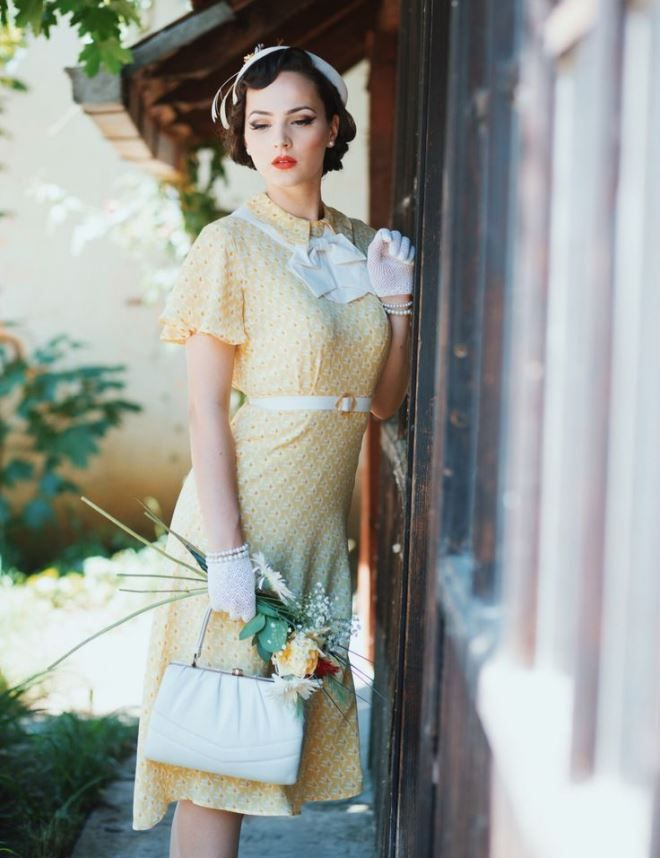Pretty lady dressed in the style of the 50s