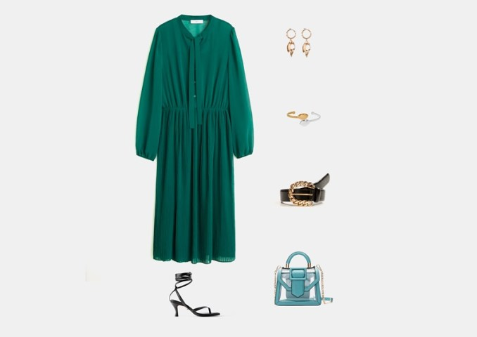 Infographic: Outfit with a long, bright green dress
