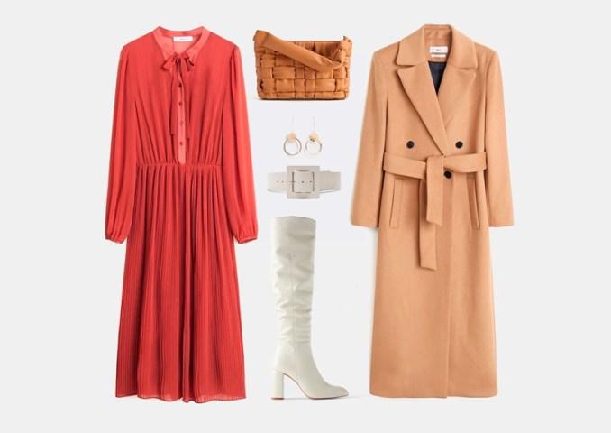 Autumn set with a bright red chiffon dress