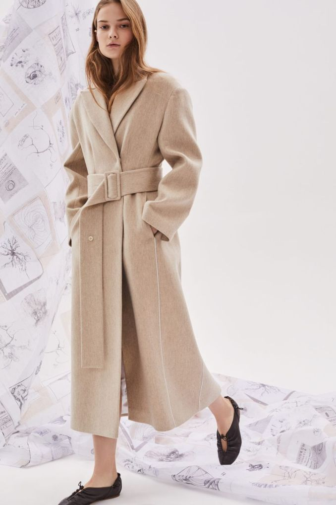 Fashionable long coat with a belt fall-winter 2020-2021 from the Ruban collection