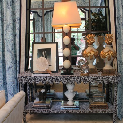 DIY Inspiration–Fabric Covered Console Tables