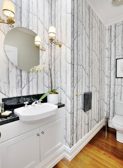 Birch Tree Wallpaper in the bathroom