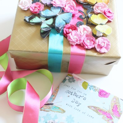 Gift Wrap Inspiration:  3-D Butterflies for Mother's Day