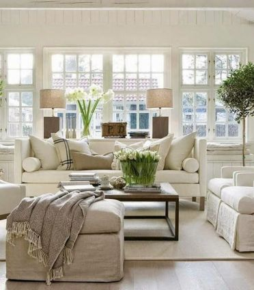 Sectional with sofa table and lamps via Liz Marie Blog