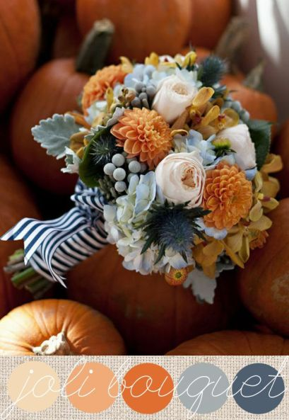 Orange and Grey Floral Bouquet