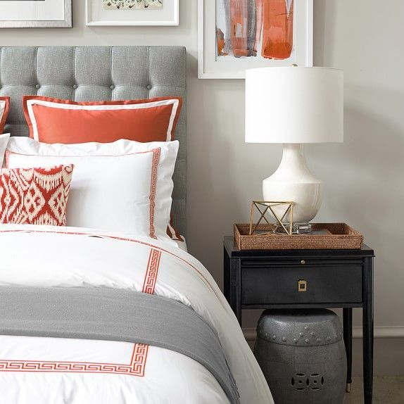 And When Lighter Shades Of Gray Are Used As Accents Against A Mostly White  Palette, The Feeling Is Sophisticated And Elegant. Orange And Grey Bedroom  ...