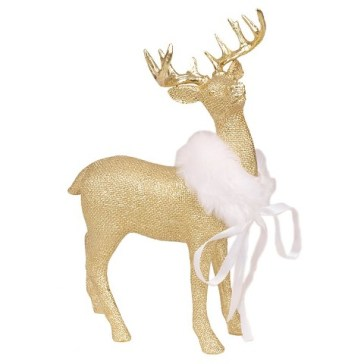 Gold Reindeer with Faux Fur