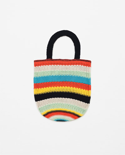 Multi Colored Striped Knit Bag