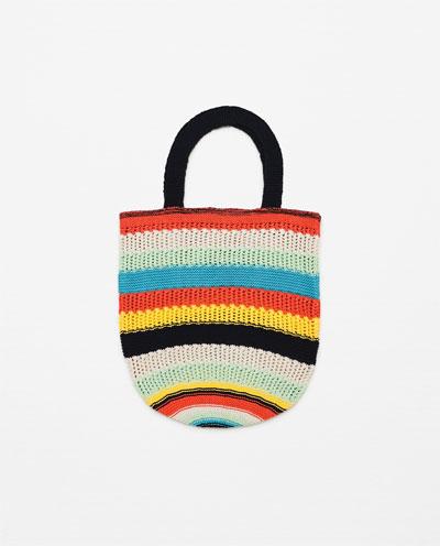 Multi Colored Striped Knit Bag