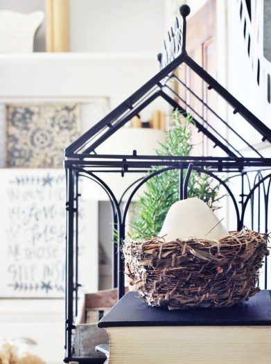 spring farmhouse decorating with nests-1