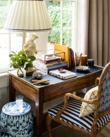 Blue and White Garden Stool next to desk