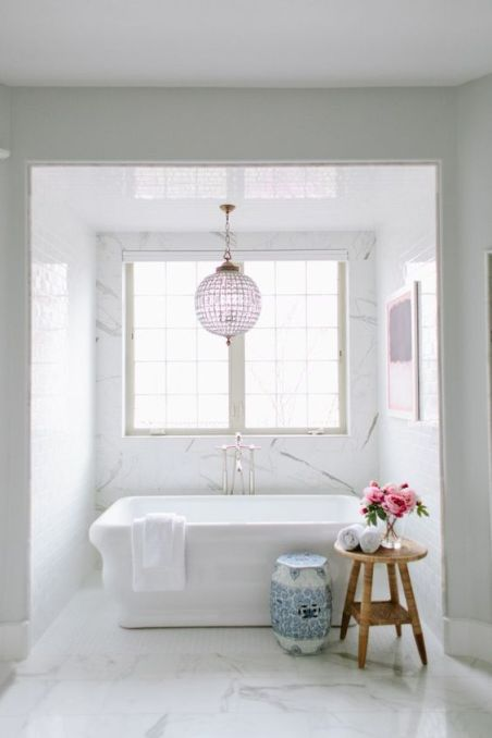 Blue and White Garden Stool in the Bathroom