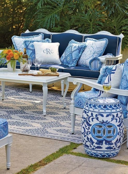 Blue and White Garden Stool as outdoor decor